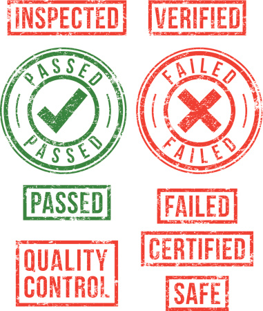 Quality control, inspection, verification rubber stamps.