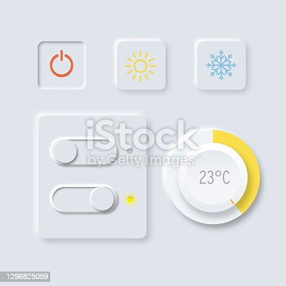 istock Control knob used for smart home climate regulating. 1296825059