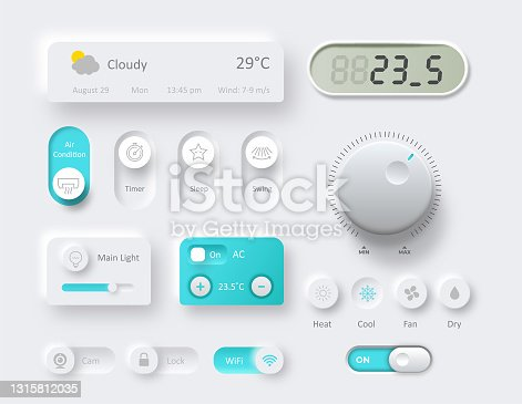 istock Control knobs used for smart home climate regulating 1315812035