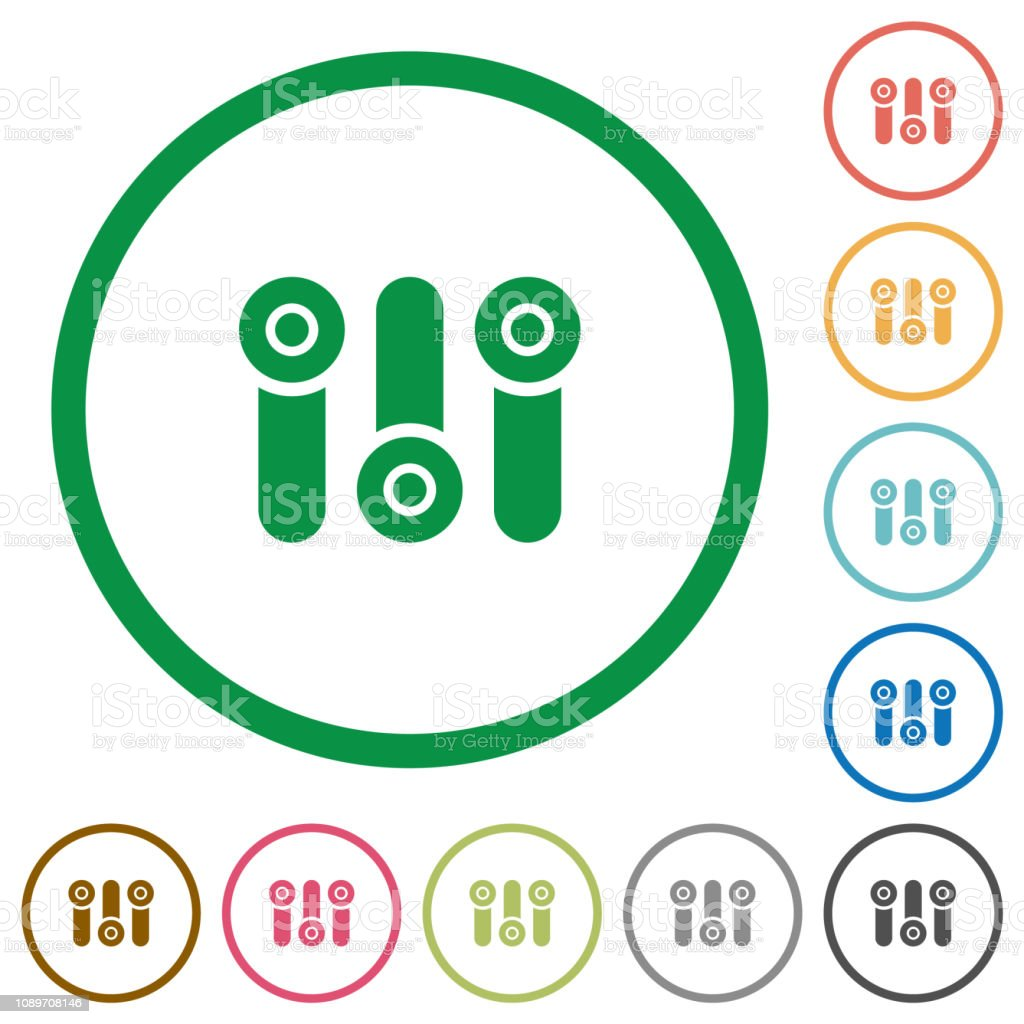 Control panel flat icons with outlines vector art illustration
