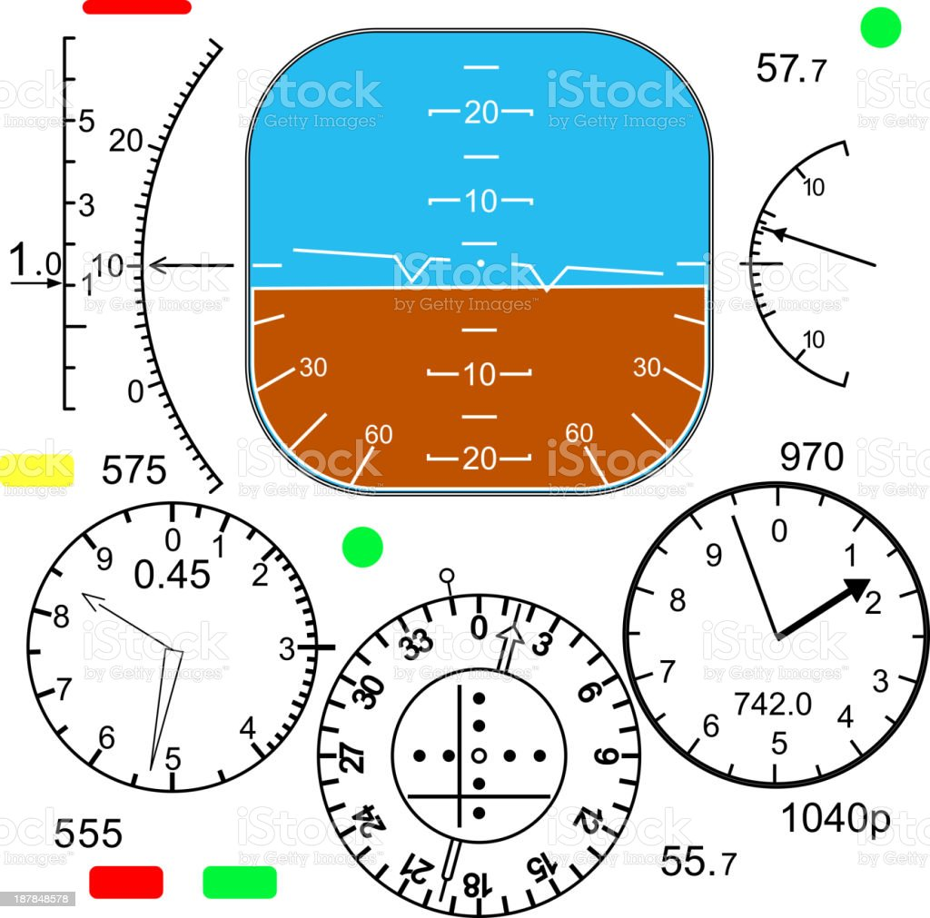 Control panel in a plane cockpit vector art illustration