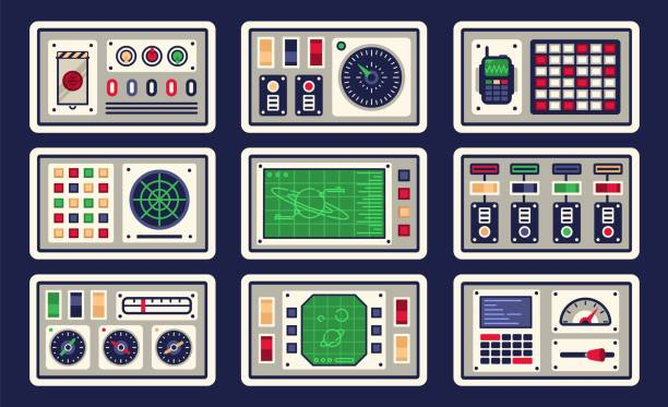 Bекторная иллюстрация Control panel in spaceship with all kinds of controls