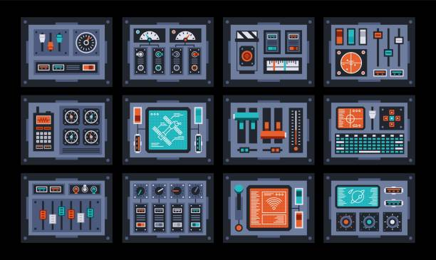 Bекторная иллюстрация Control panels set. Devices from the control room