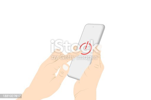 istock Control, power switch, power off, turn off, button, pushing, smart phone touch vector. 1331027617