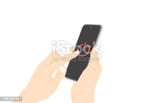 istock Control, power switch, power off, turn off, button, pushing, smart phone touch vector. 1331027621