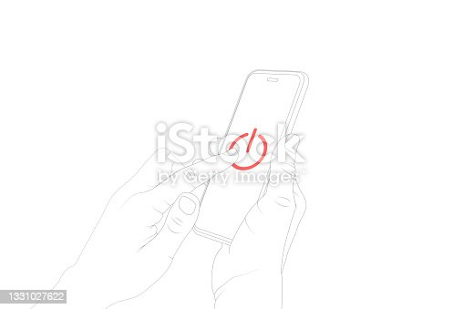 istock Control, power switch, power off, turn off, button, pushing, smart phone touch vector. 1331027622