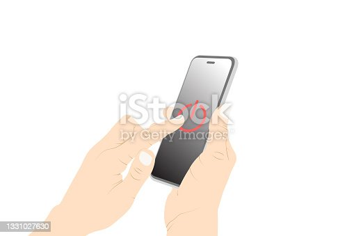 istock Control, power switch, power off, turn off, button, pushing, smart phone touch vector. 1331027630