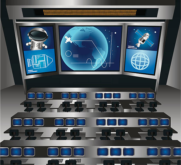 Control Room The mission control centre with screen showing the astronaut and satellite. Zip contains high res jpeg and AI CS2. mission control stock illustrations