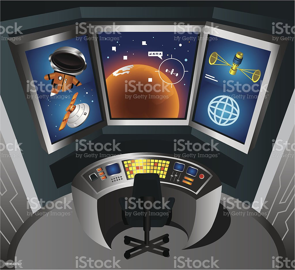 Control Room vector art illustration