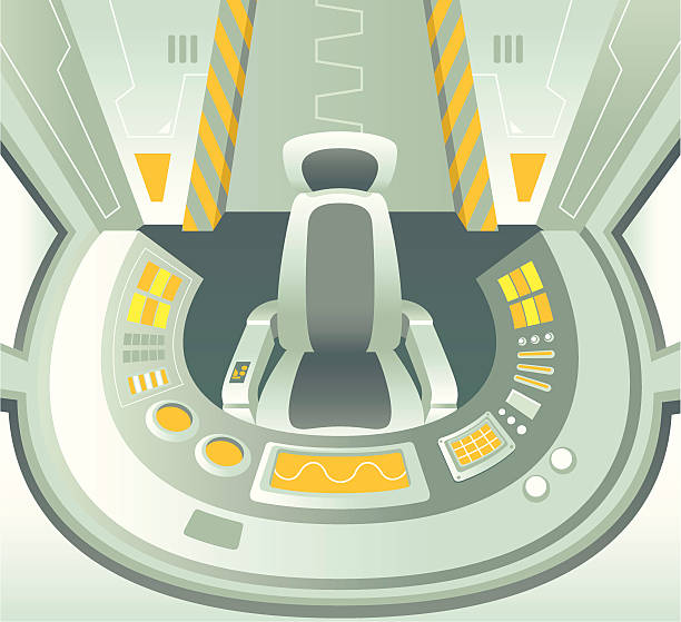 Control Room Spaceship control room. Zip contains AI and PDF format. mission control stock illustrations