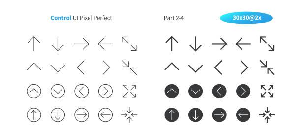 ui 픽셀 완벽 한 잘 만들어진 벡터 얇은 선 및 고체 아이콘 30 2 제어 그리드 웹 그래픽 및 애플 리 케이 션에 대 한 x. 최소한의 간단한 그림 2-4 부 - 무너짐 stock illustrations