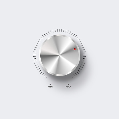 Control volume. Blank knob template with realistic metal texture