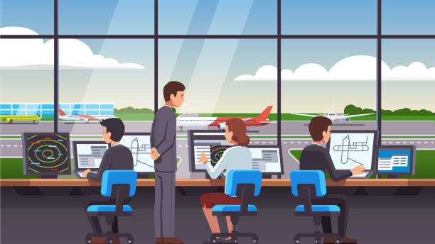 Controllers team people working at airport air traffic control tower interior sitting at computer monitors and looking through window at commercial airplanes. Flat style isolated vector Airport traffic control tower interior & computer navigation terminal workplace. Controllers team worker people & supervisor working with plane, airliner & jet on runway. Flat vector illustration airport clipart stock illustrations