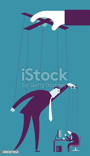 Vector illustration - Controlling business puppet concept