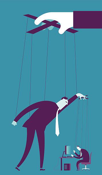 kontrolowanie biznes koncepcja kukiełka - marionetka stock illustrations