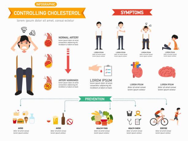 ilustrações, clipart, desenhos animados e ícones de controlando o colesterol infográficos - colesterol