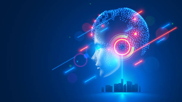 AI controls smart city infrastructure. Artificial intelligence analyze big data urban systems. Abstract cybernetics silhouette head woman with neural network brain in cyberspace. Futuristic concept. vector art illustration