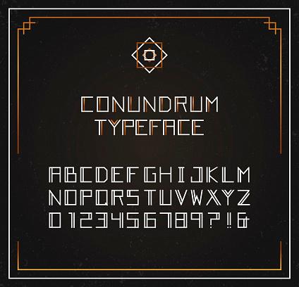Conundrum exclusive typeface. Vector font