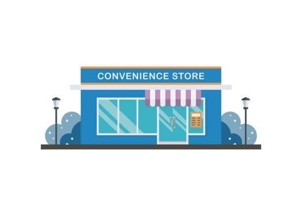 겨울에 편의점 건물. 간단한 평면 그림입니다. - 시장 소매점 stock illustrations