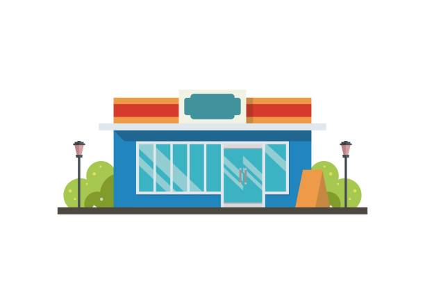 Convenience store building. Simple flat illustration Simple illustration of a convenience store/shop building facade stock illustrations