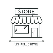 istock Convenience store pixel perfect linear icon. Grocery shop exterior. Small business in retail. Thin line customizable illustration. Contour symbol. Vector isolated outline drawing. Editable stroke 1253259417