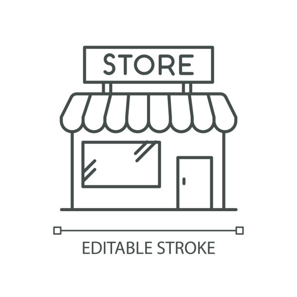 Convenience store pixel perfect linear icon. Grocery shop exterior. Small business in retail. Thin line customizable illustration. Contour symbol. Vector isolated outline drawing. Editable stroke Convenience store pixel perfect linear icon. Grocery shop exterior. Small business in retail. Thin line customizable illustration. Contour symbol. Vector isolated outline drawing. Editable stroke airport drawings stock illustrations