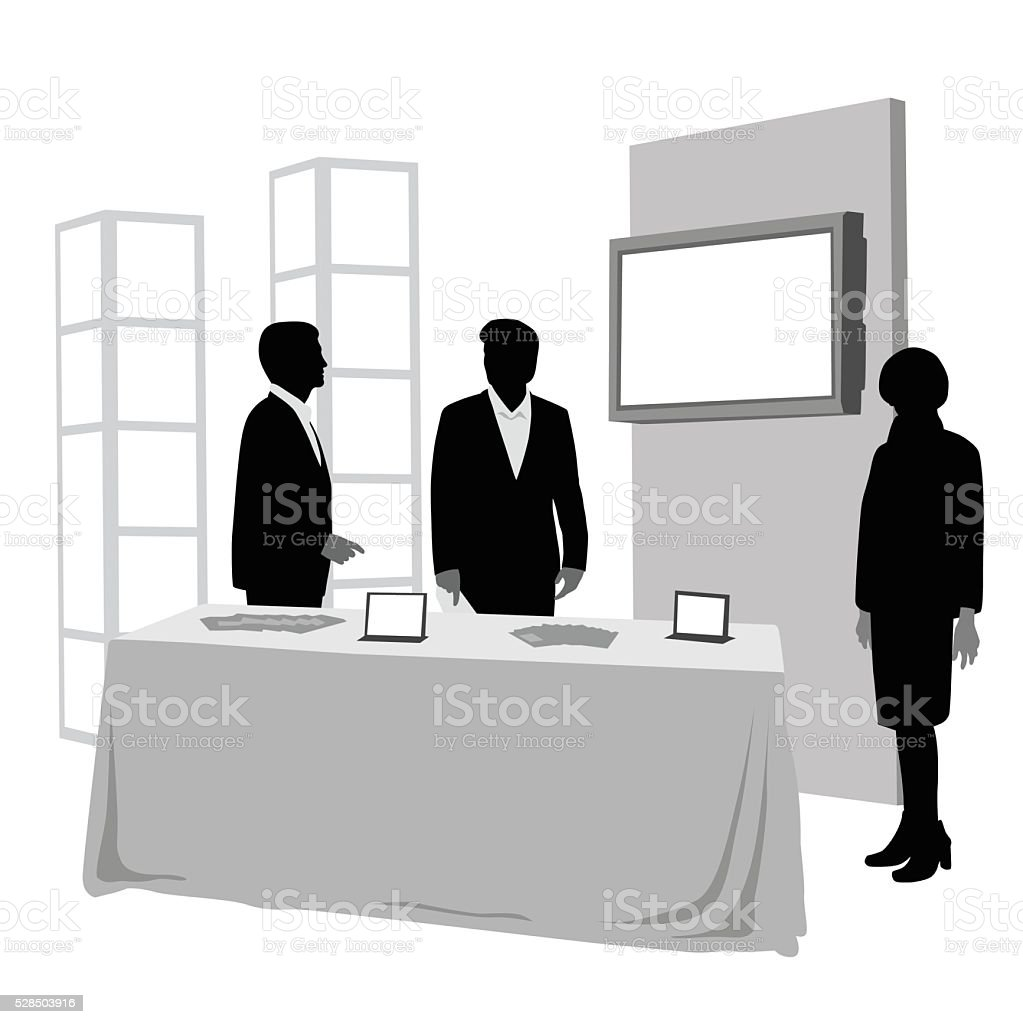 Convention Booth Attendees vector art illustration