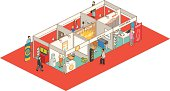 People walking throughout an exhibition - isometric