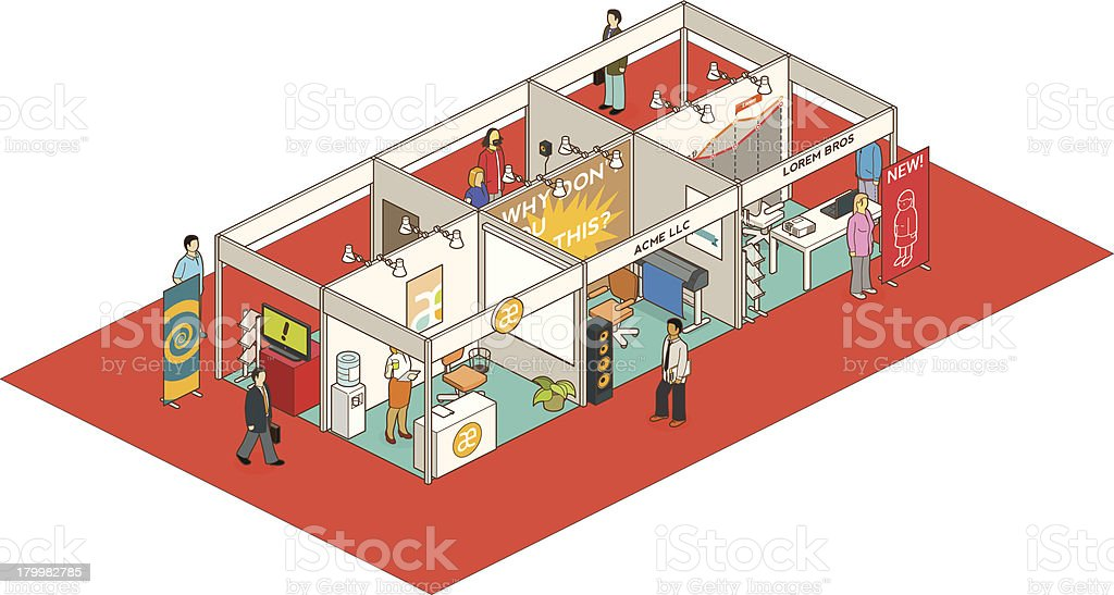 Cartoon drawing of people walking throughout an exhibition vector art illustration
