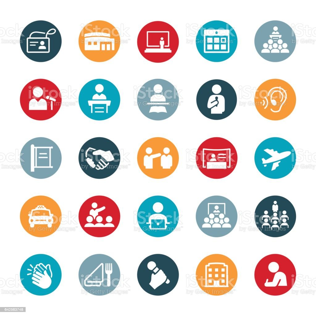 Convention Icons vector art illustration
