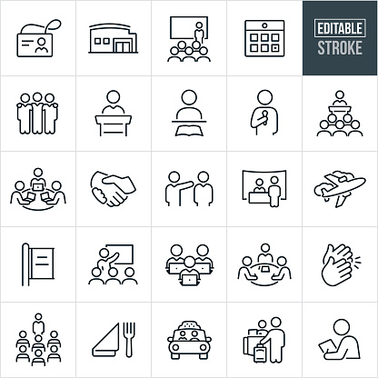 A set of convention icons that include editable strokes or outlines using the EPS vector file. The icons include a name badge, convention center, business person presenting to an audience at a convention, calendar, business people with arms around shoulders, presenter giving a speech, person learning at convention, business person presenting while holding a microphone, a group of people listening to speaker as they attend a business conference, attendees on laptops at convention, handshake, trade-show booth, airplane, advertisement, business person giving presentation, clapping hands, dining, taxi cab, hotel check-in and an attendee taking notes.