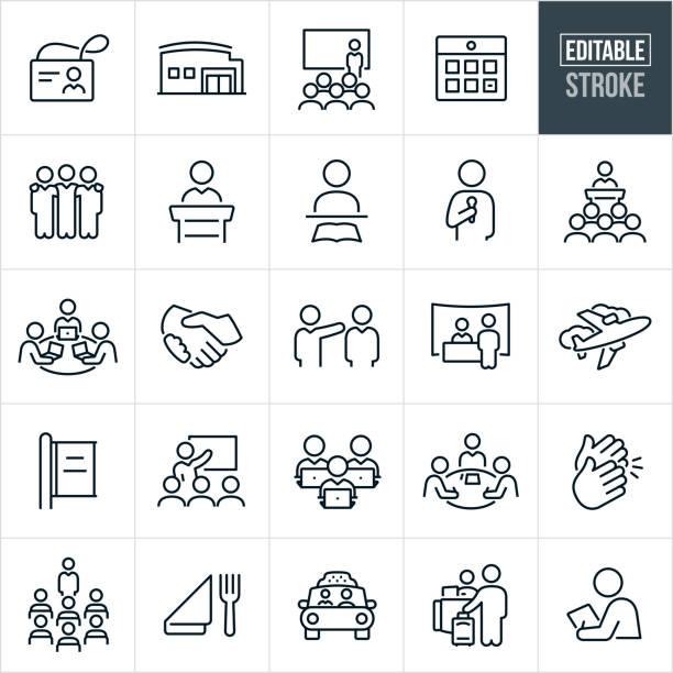 stockillustraties, clipart, cartoons en iconen met dunne lijnpictogrammen voor conventie - bewerkbare lijn - meeting