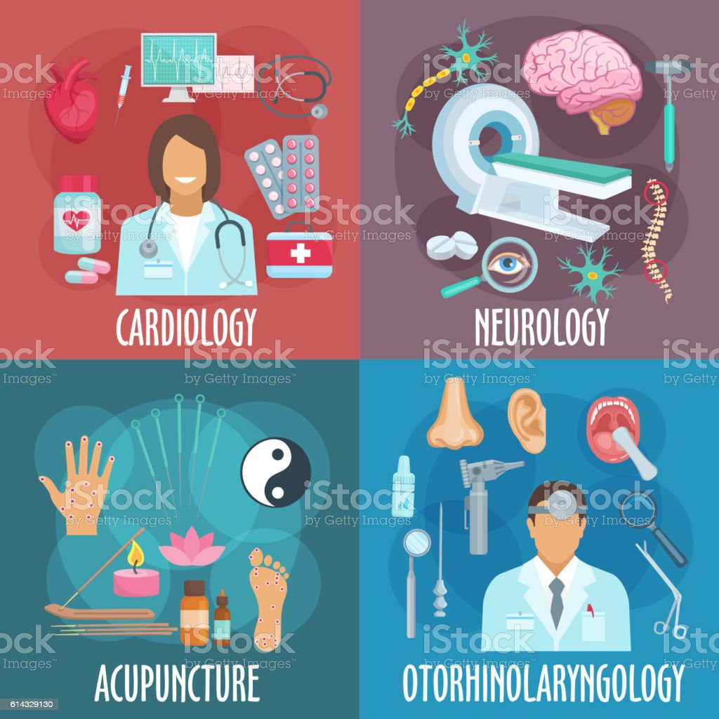Conventional and alternative medicine flat icons vector art illustration