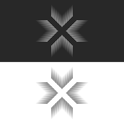 Converge 4 arrows logo cross shape t-shirt print, letter X form black and white lines, crossing four directions in center crossroad