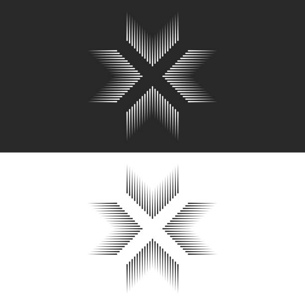 Converge 4 arrows logo cross shape t-shirt print, letter X form black and white lines, crossing four directions in center crossroad Converge 4 arrows logo cross shape t-shirt print, letter X form black and white lines, crossing four directions in center crossroad vanishing point stock illustrations