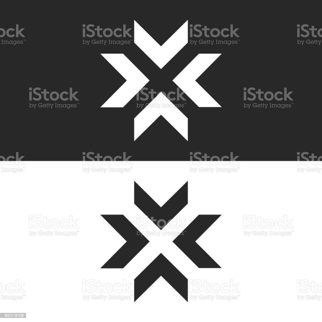 Converge arrows  mockup, letter X shape black and white graphic concept, intersection 4 directions in center crossroad creative resize icon vector art illustration