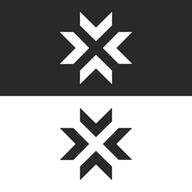 集中箭號樣機, 字母 x 形狀黑白圖形概念, 十字路口4方向在中心十字路口創意調整大小圖示 - 烏克蘭 幅插畫檔、美工圖案、卡通及圖標