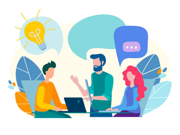 conversation, communication, discussion in the office, teamwork - group of people stock illustrations