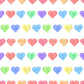 Colorful sweethearts seamless pattern for February, 14. Conversation hearts bright illustration.