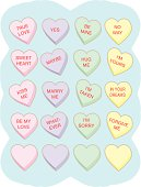 Vector illustration of conversation heart candy