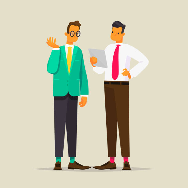 conversation of two business men. vector illustration - two people talking stock illustrations, clip art, cartoons, & icons