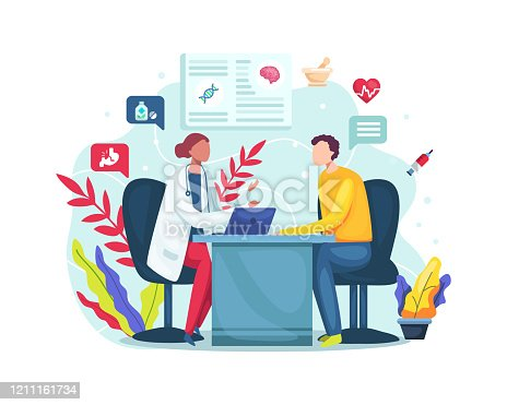 istock Conversation with medic about checkup results 1211161734