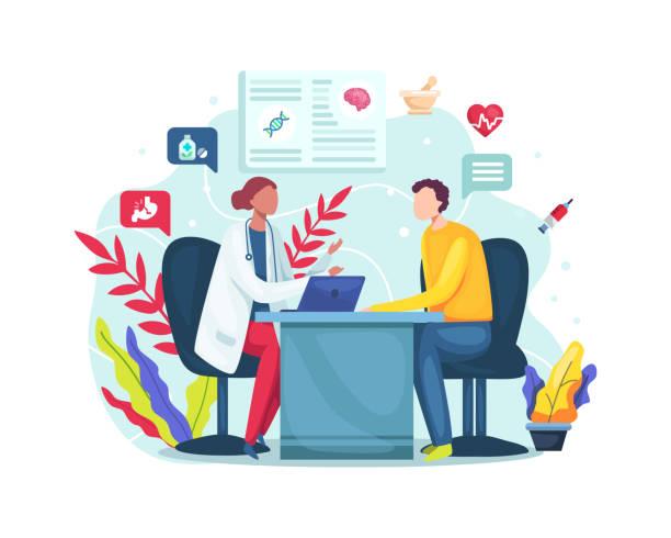ilustrações, clipart, desenhos animados e ícones de conversa com médico sobre resultados de check-up - médico