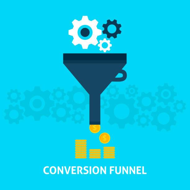 bildbanksillustrationer, clip art samt tecknat material och ikoner med conversion funnel flat concept - creative curation