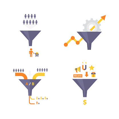 Conversion optimization, lead magnets and funnel ab tests infographics elements