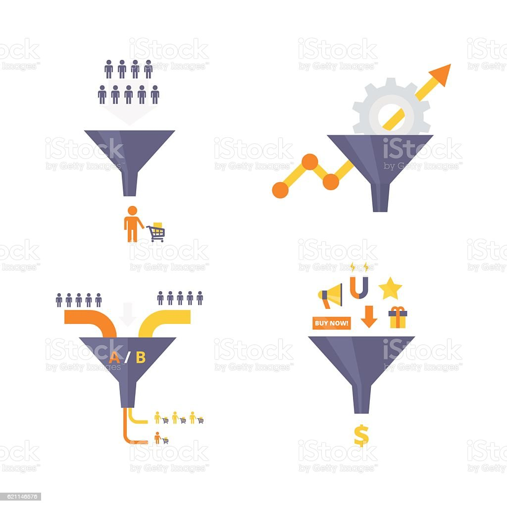 Conversion optimization, lead magnets and funnel ab tests infographics elements - ilustración de arte vectorial