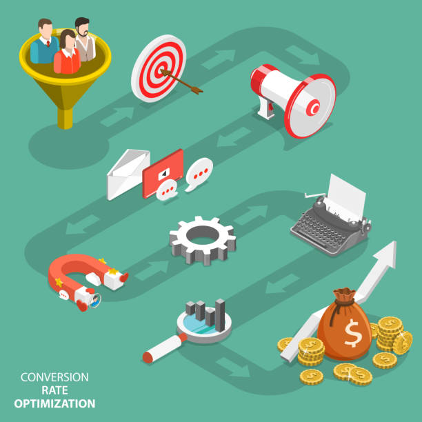 Conversion rate optimization flat isometric vector Conversion rate optimization flat isometric vector. Represents infographics of CRO process. sales occupation stock illustrations
