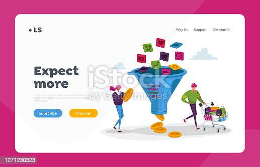 istock Conversion Rate Optimization Landing Page Template. Tiny Characters with Trolley and Money at Huge Sales Funnel 1271230323