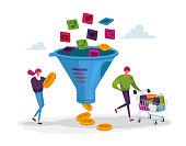 istock Conversion Rate Optimization. Tiny Characters with Shopping Trolley and Money at Huge Sales Funnel. Digital Marketing 1269730905