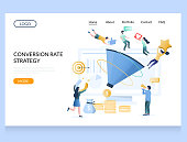 Conversion rate strategy vector website template, web page and landing page design for website and mobile site development. CRO, conversion optimisation process concept.